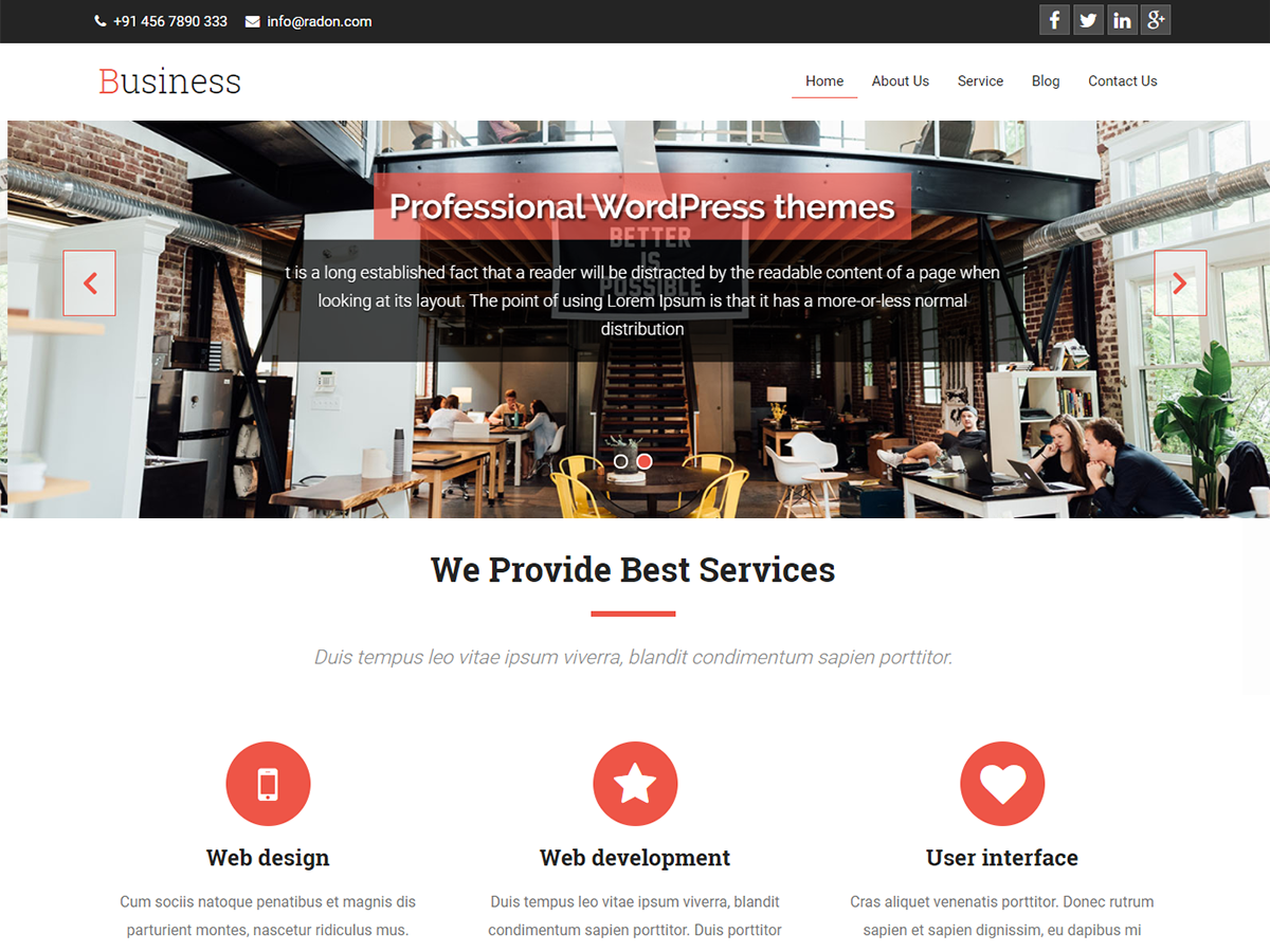 Premium WordPress themes for your website Business-A screenshot   Premium Themes WordPress Themes