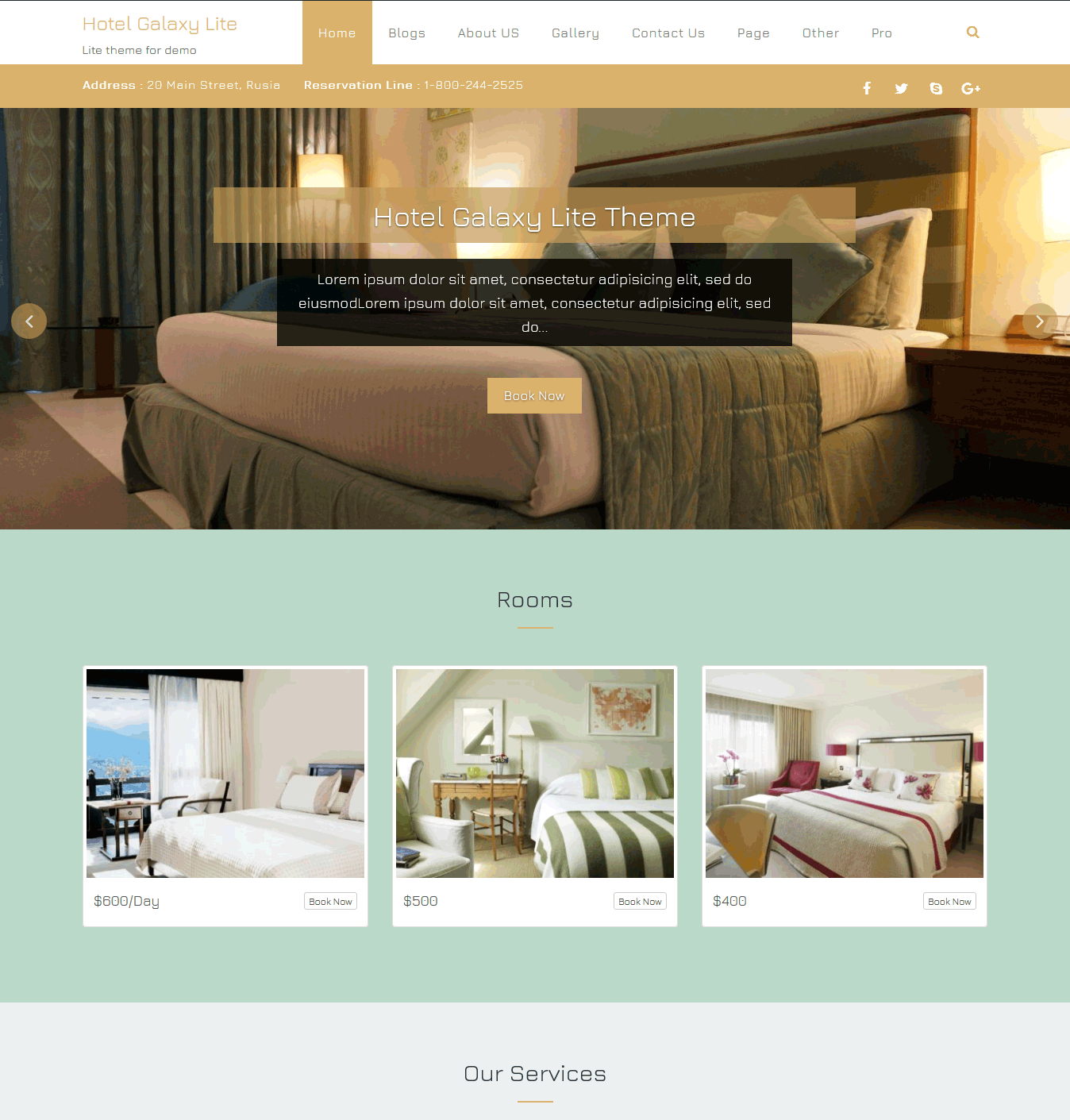 Wordpress Hotel Business Theme Premium WordPress
